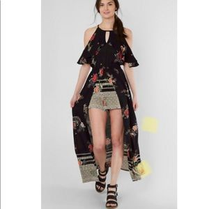 Angie Floral Cold Shoulder Romper Maxi Dress